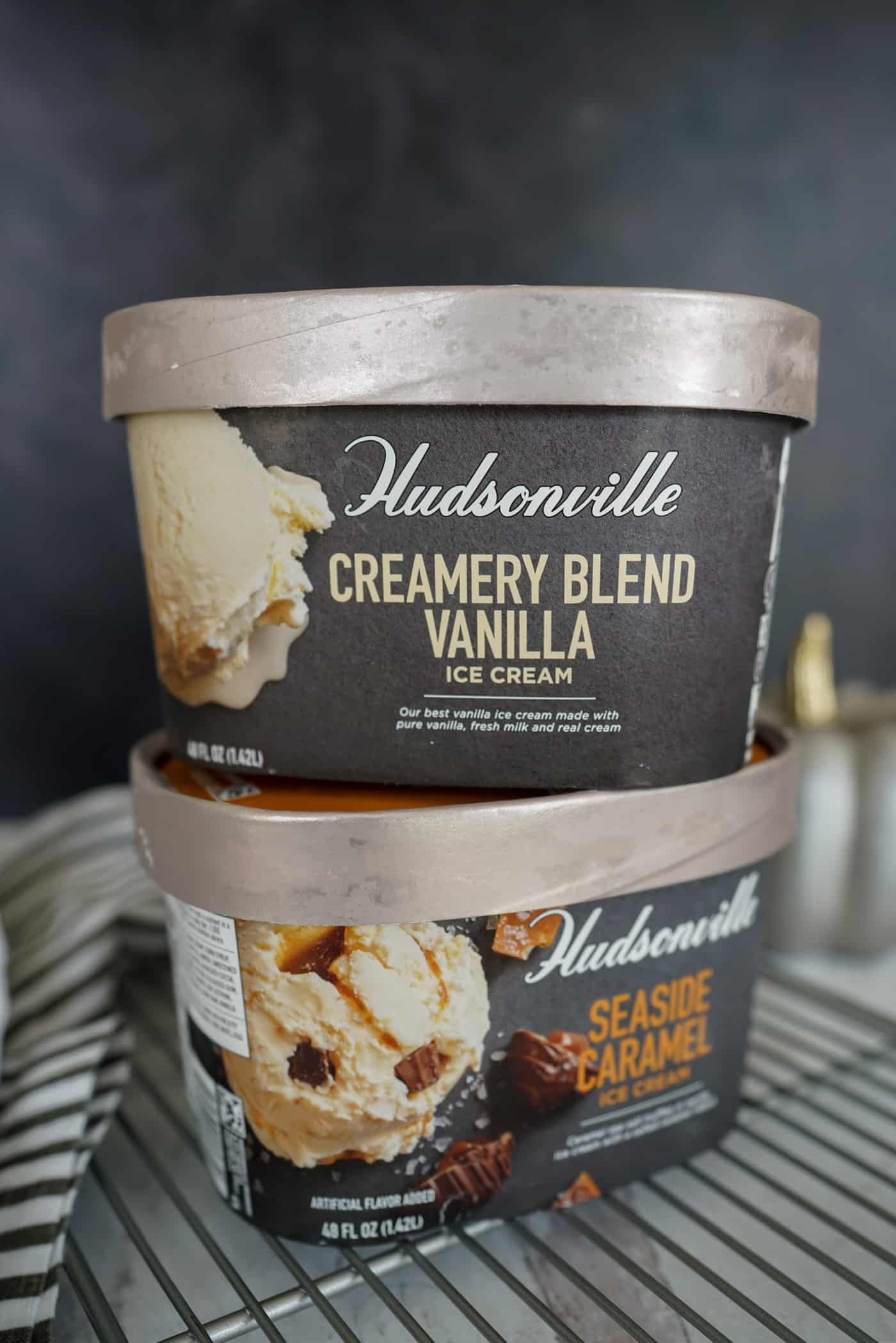 A stack of Hudsonville Creamy Vanilla Blend and Seaside Caramel ice cream