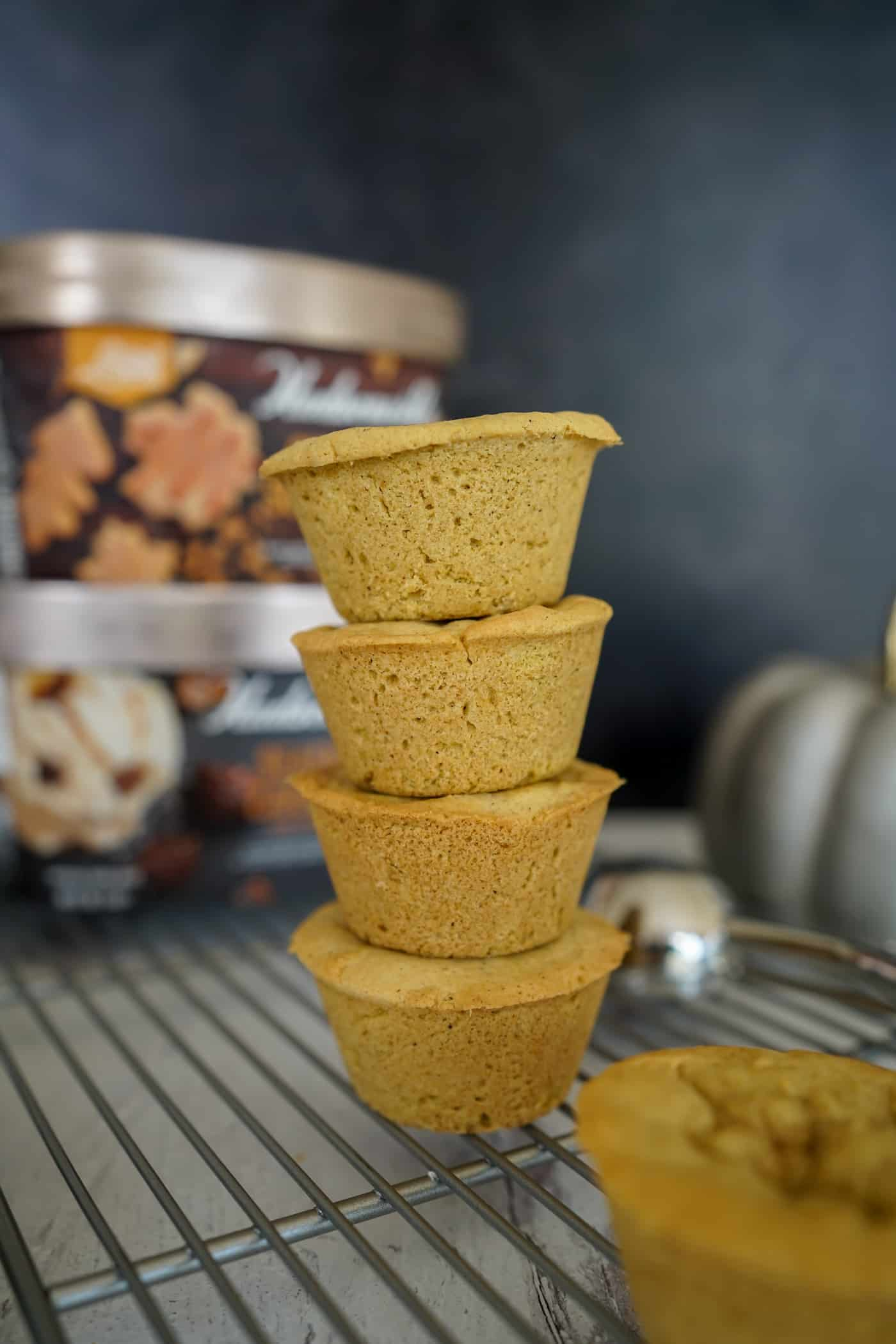 A tall stack of pumpkin spice cookie cups with Hudsonville ice cream