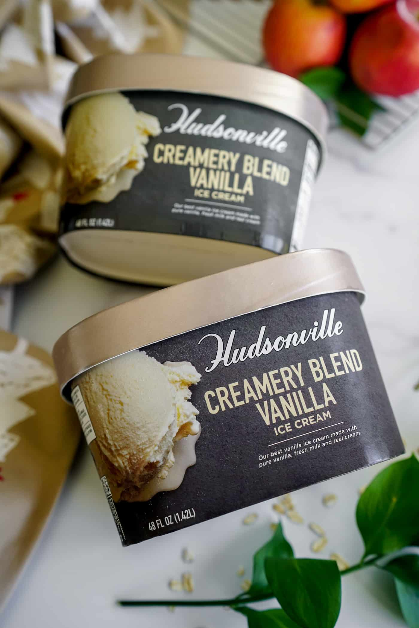 Two containers of Hudsonville Creamery Blend Vanilla Ice Cream