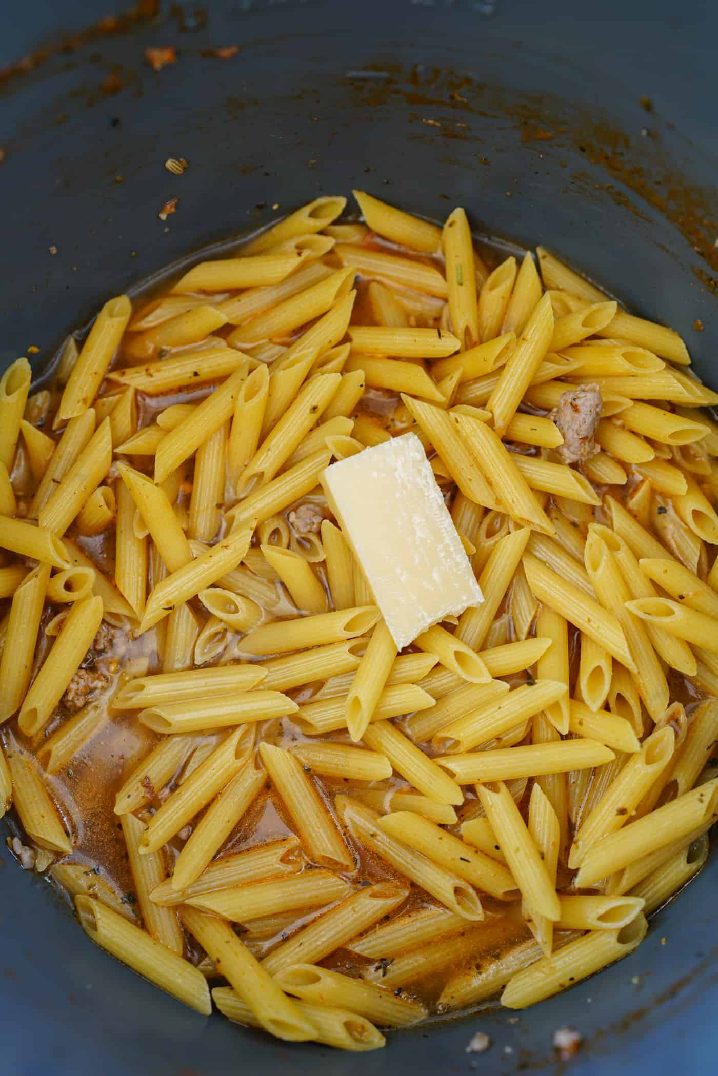 Instant Pot filled with penne pasta