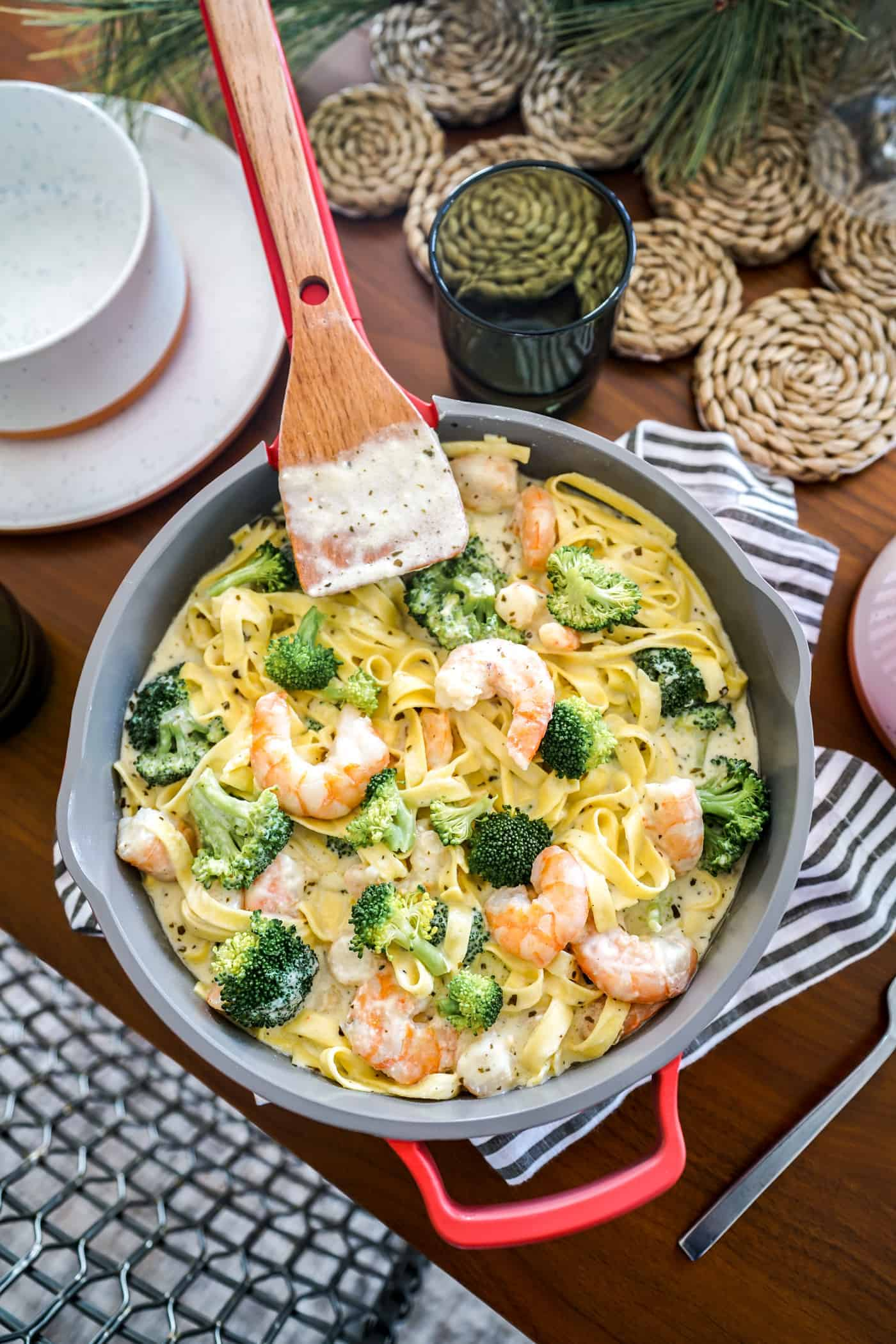 Basil Pesto Alfredo With Shrimp & Broccoli in an Our Place Always Pan