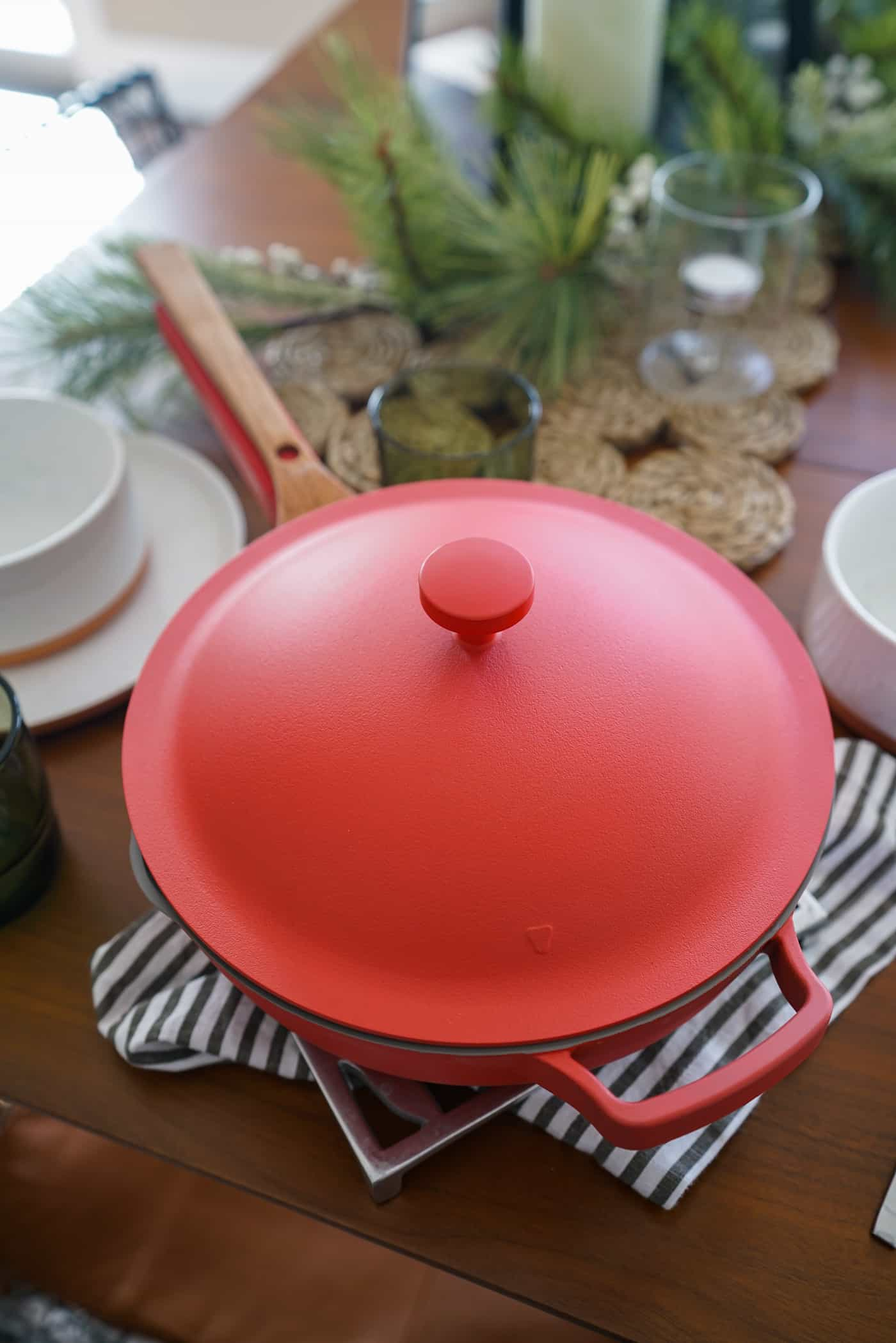 Red Our Place Always Pan with lid