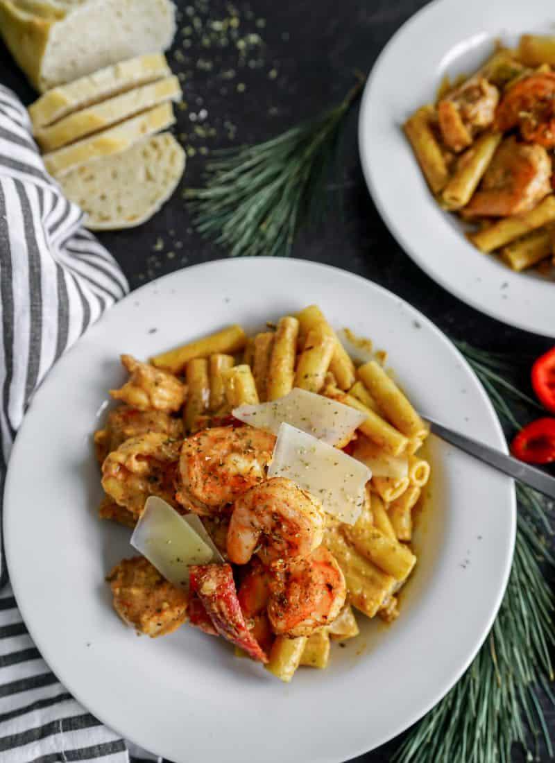 Rasta Pasta With Shrimp & Cream Sauce