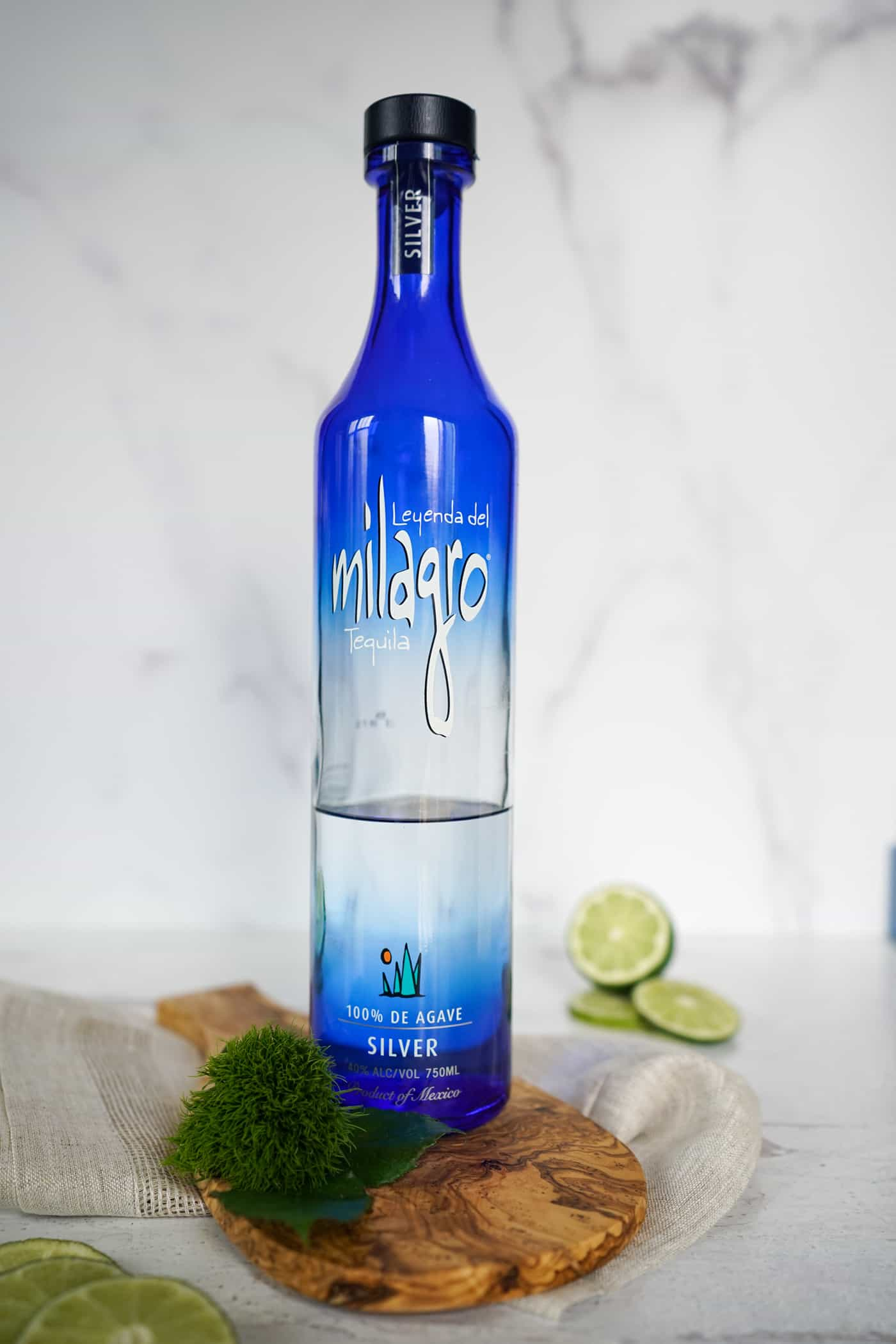 A bottle of Milagro Silver Tequila