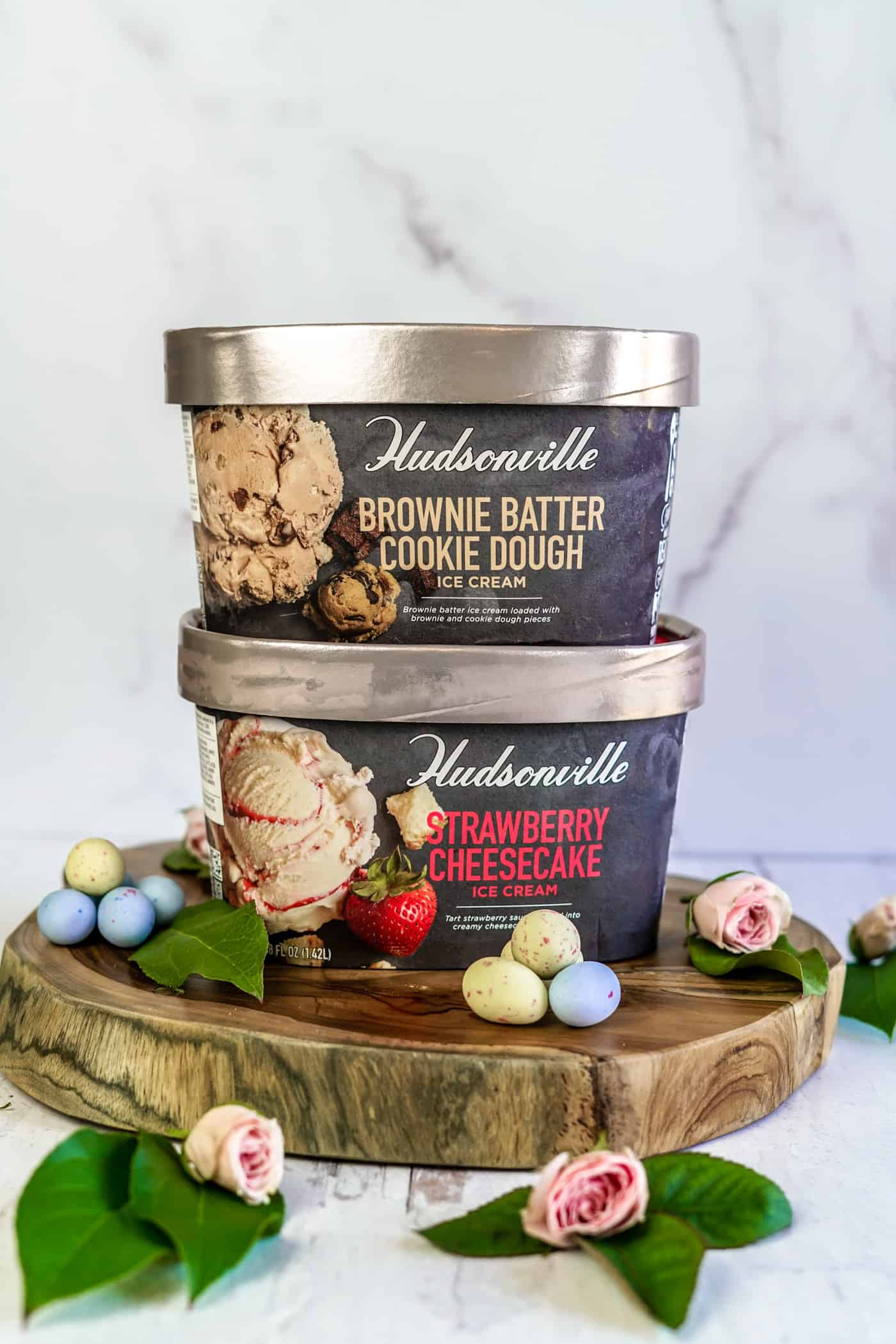 Two Hudsonville Ice Cream cartons on a platter