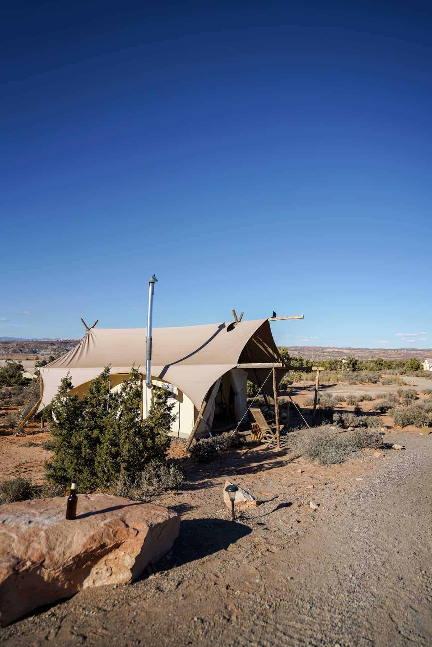 A glamping tent at the Under Canvas Moab.