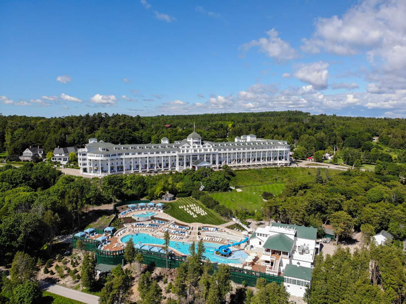 Aerial view of the Grand Hotel and pool on Mackinac Island Michigan