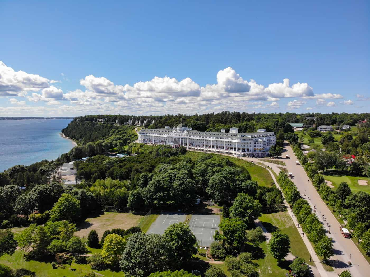 Aerial view of the Grand Hotel on Mackinac Island