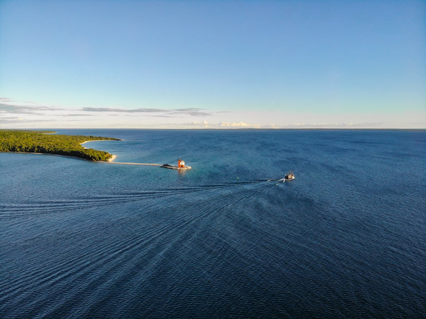 Arial view of Round Island Lighthouse near Mackinac Island