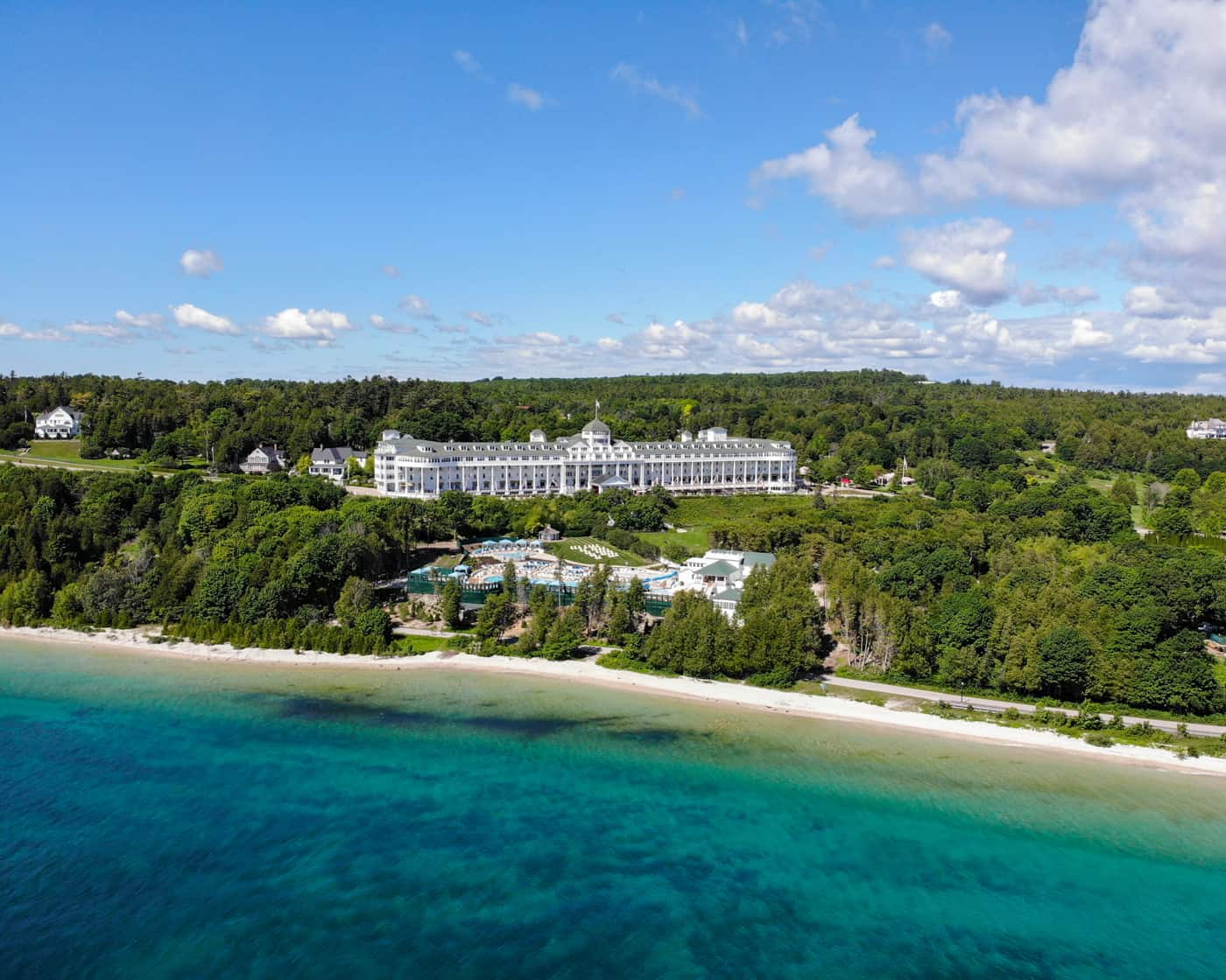 Beautiful arial view of the Grand Hotel on Mackinac Island