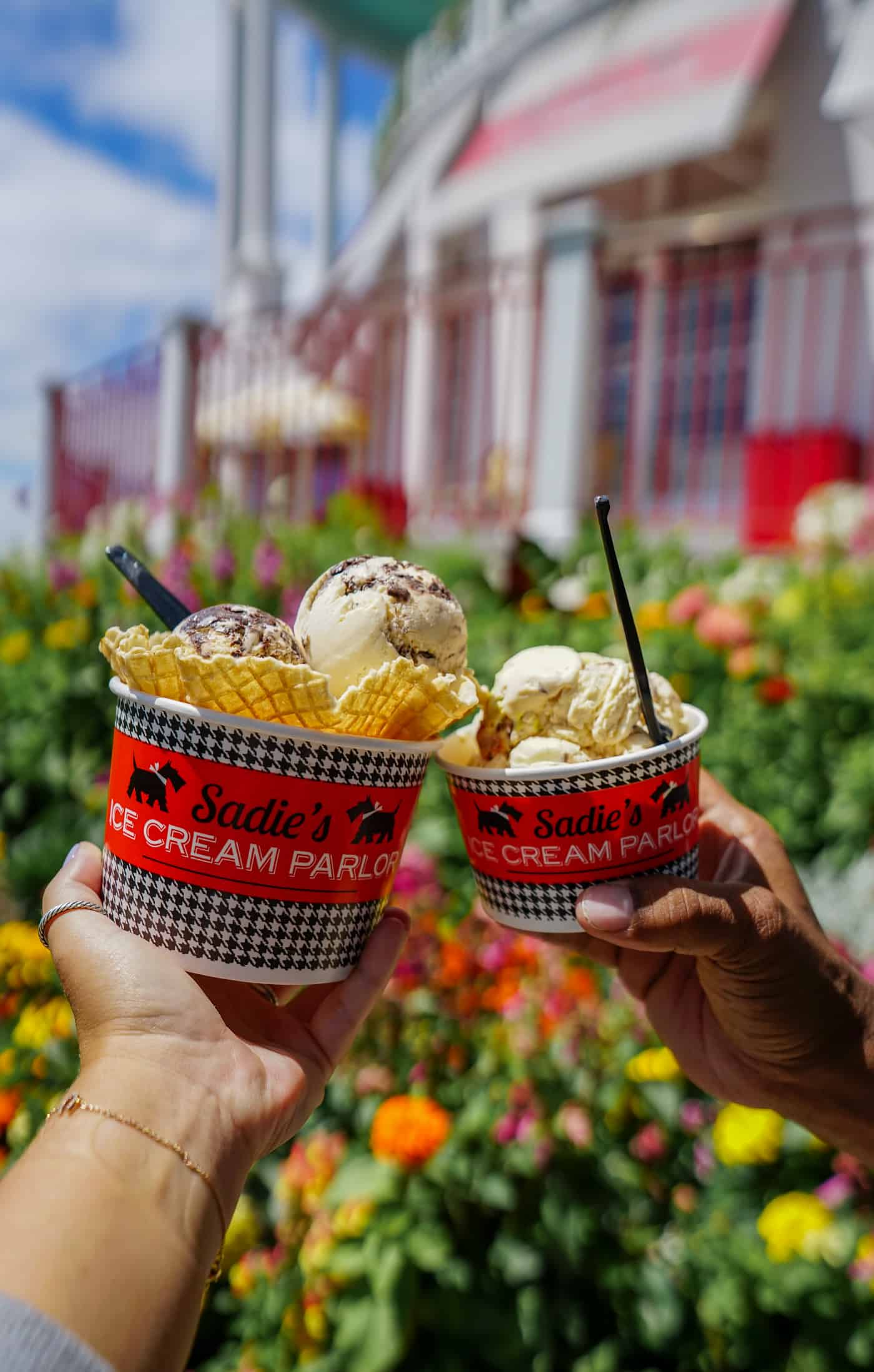 Two cups of Hudsonville Ice Cream at Sadie's Ice Cream Parlor at the Grand Hotel