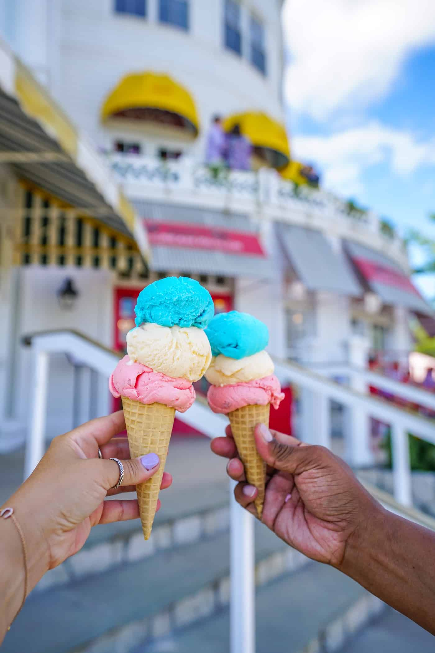 Red, white and blue ice cream on waffle cones at the Grand Hotel.