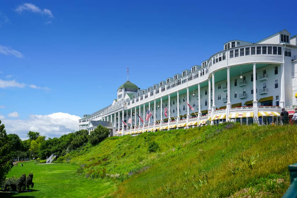 The Grand Hotel on Mackinac Island during the summer.