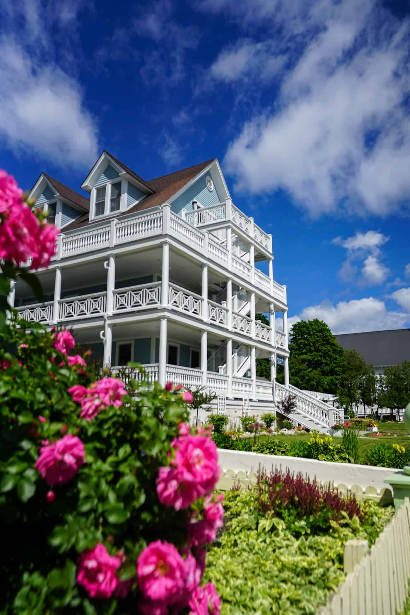 A large home on Mackinac Island Michigan with three large staircases.