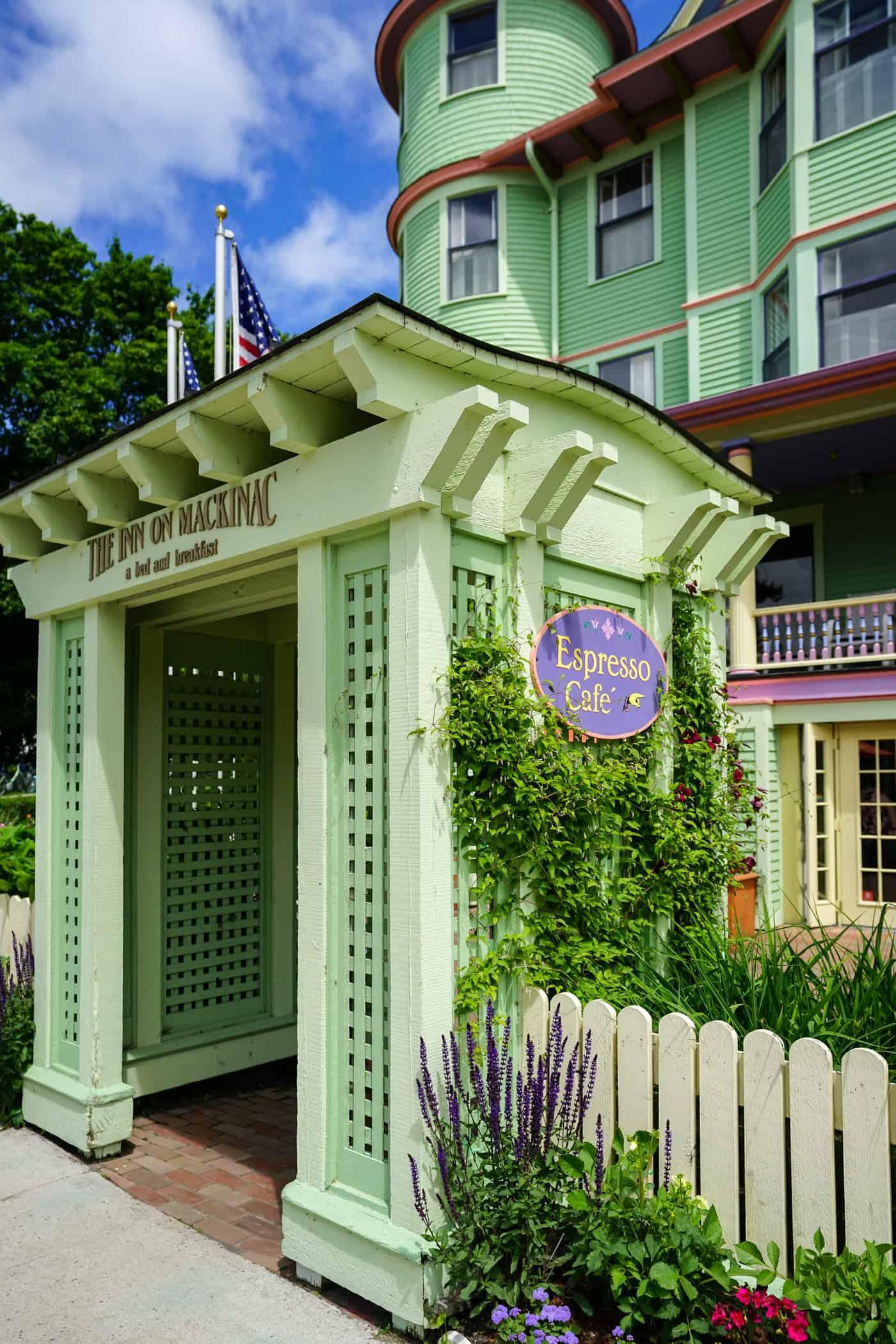 Front gate of the Inn on Mackinac on Mackinac Island
