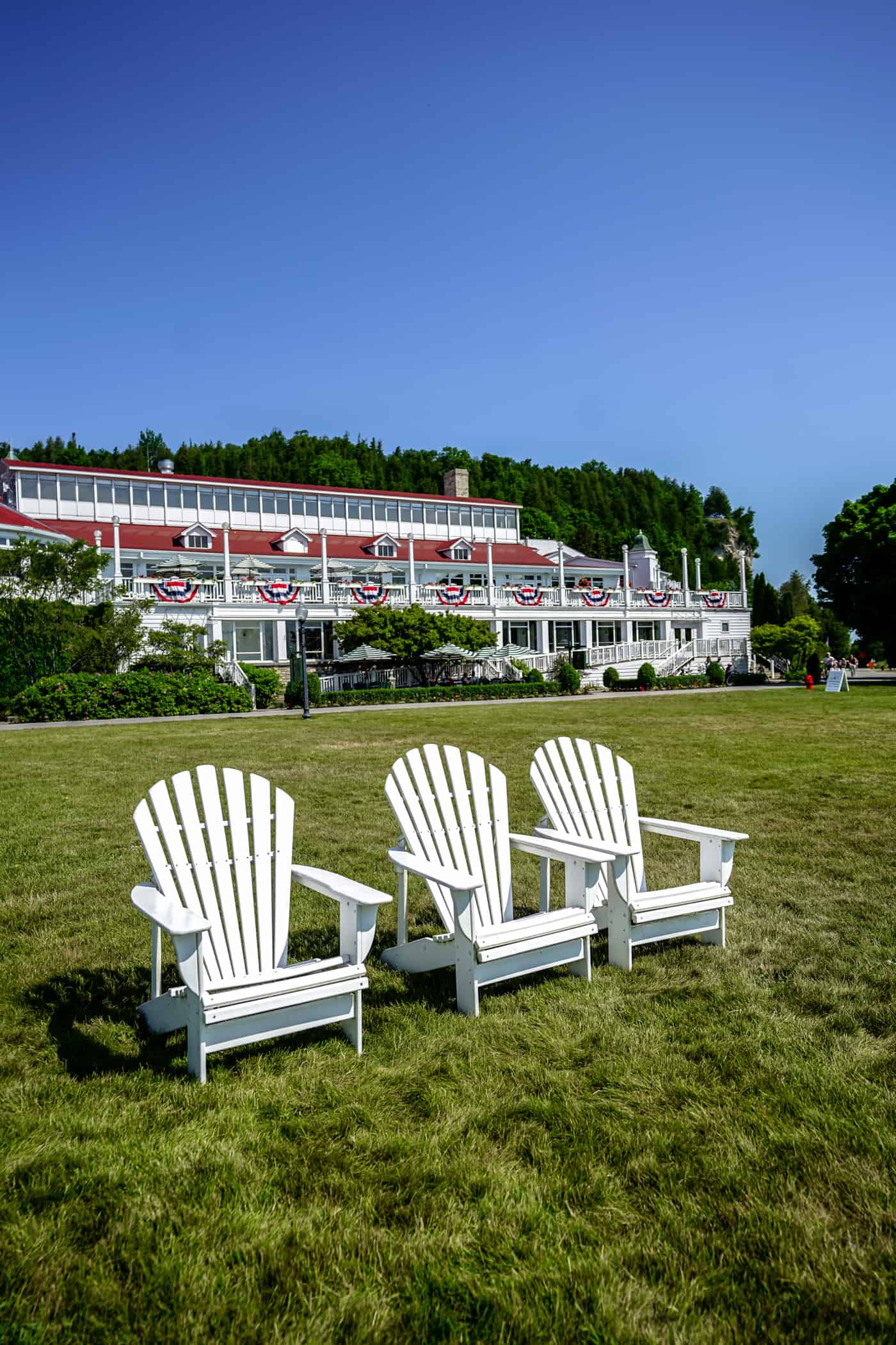 Front view of Mission Point Resort on Mackinac Island Michigan