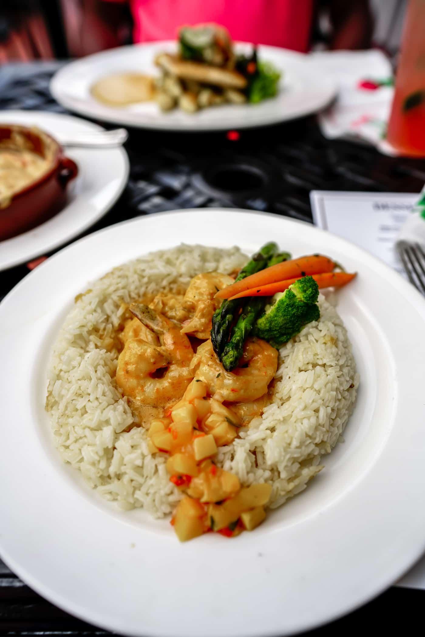 Shrimp and rice bowl at the Gate House Mackinac Island