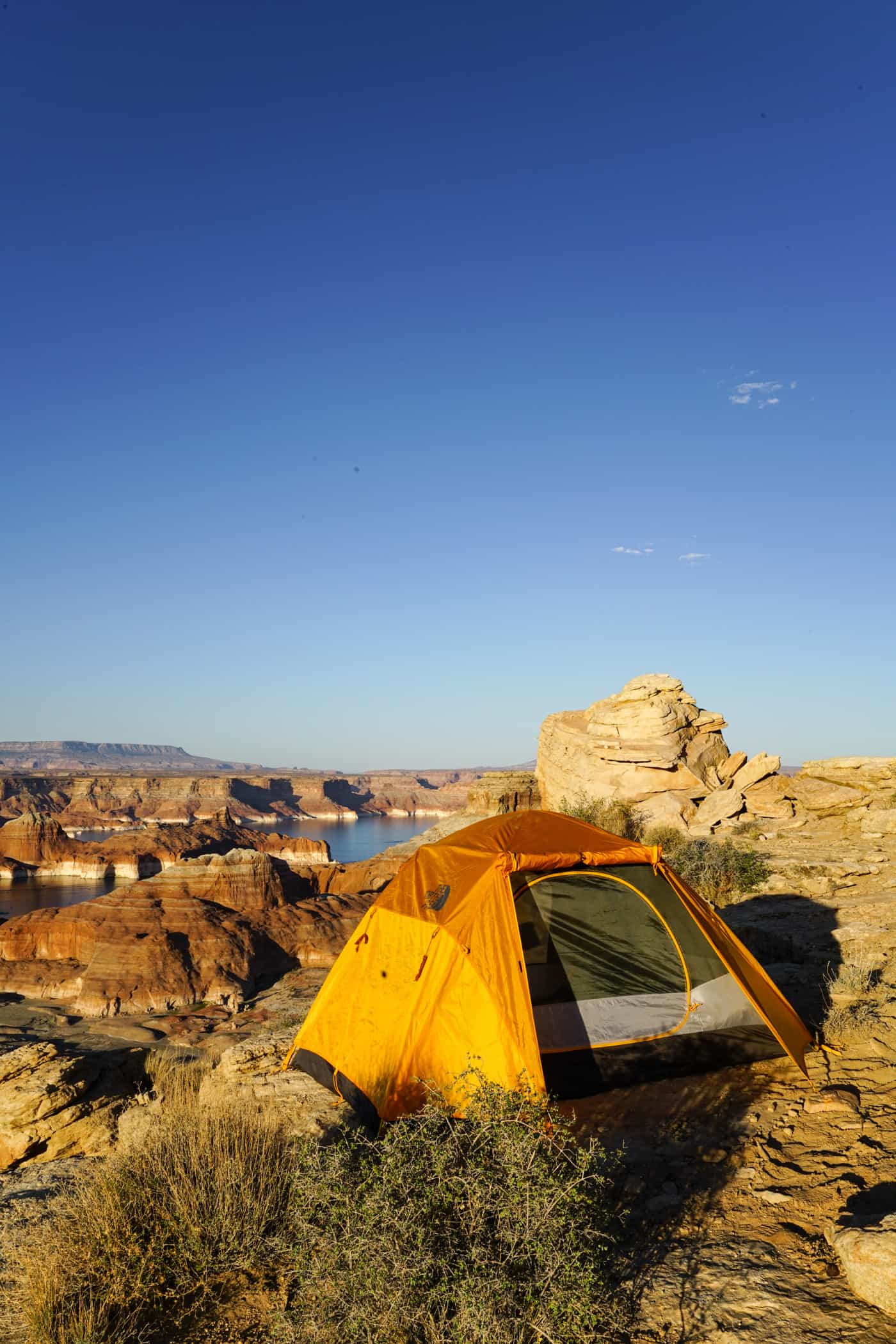 A North Face Tent at Alstrom Point in Utah and Lake Powell.