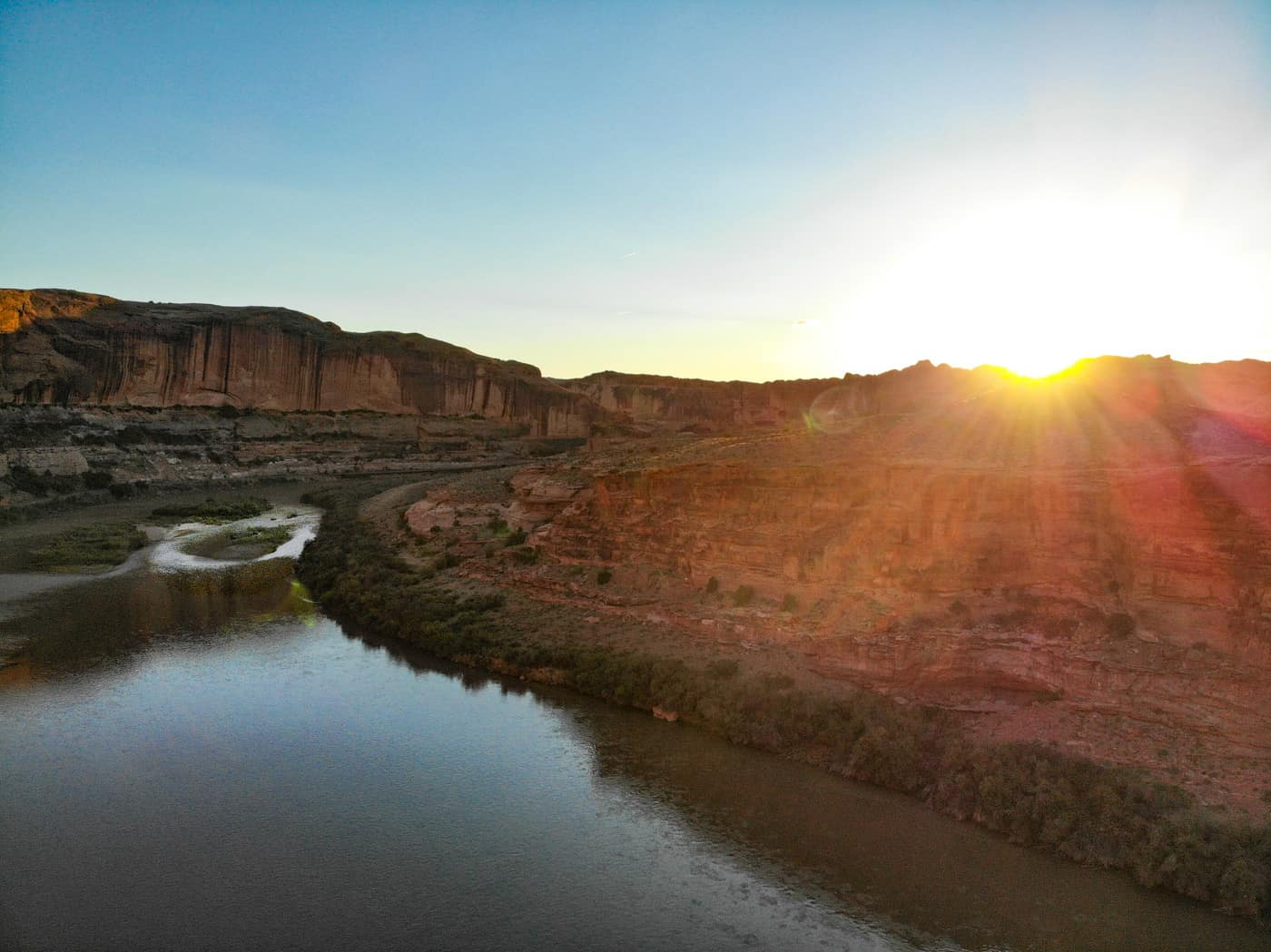 Aerial view of the Colorado River at sunset in Moab, Utah.