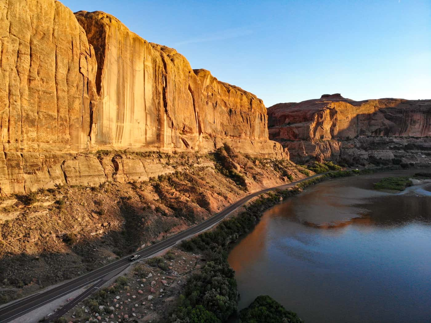 Aerial view of the Colorado River along scenic byway 128 in Moab.