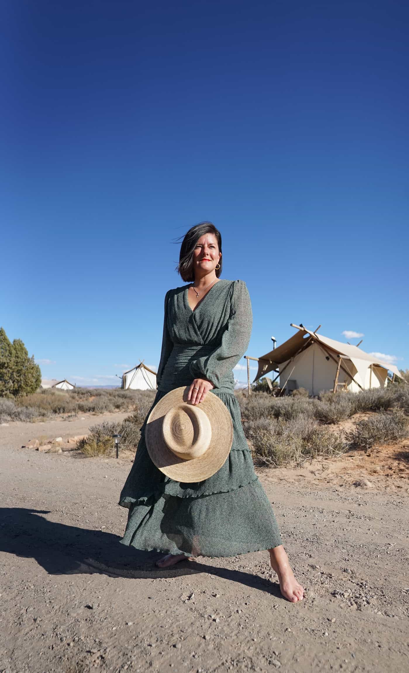 A women wearing an Astr the Label maxi dress at the Under Canvas Moab camp